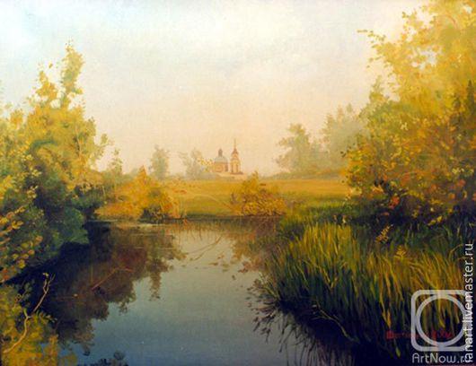 Пейзаж ручной работы. Ярмарка Мастеров - ручная работа. Купить Золотая осень.. Handmade. Желтый, осень, река, поле, церковь
