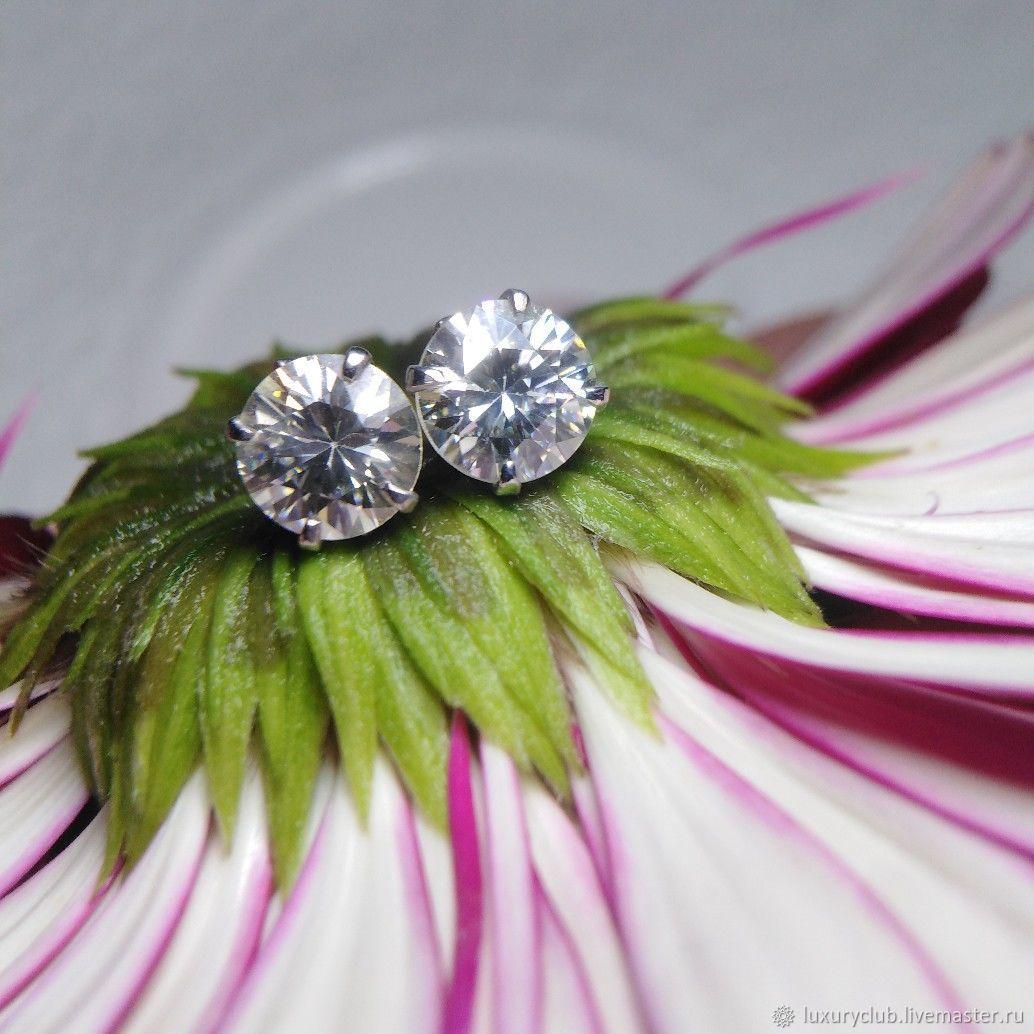 Poussette earrings with diamonds in white gold buy VIDEO, Stud earrings, Tolyatti,  Фото №1