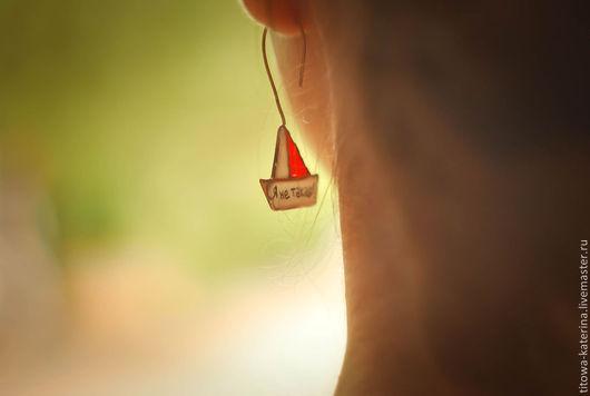 Серьги ручной работы. Ярмарка Мастеров - ручная работа. Купить серьги Кораблики. Handmade. Ярко-красный, кораблики, необычные серьги