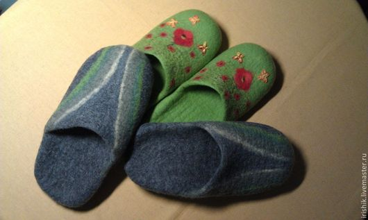 """Обувь ручной работы. Ярмарка Мастеров - ручная работа. Купить Домашняя обувь (семейная) """" На одной волне"""". Handmade."""