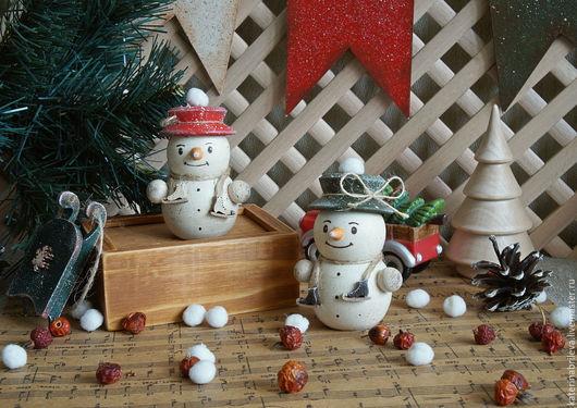 Новый год 2017 ручной работы. Ярмарка Мастеров - ручная работа. Купить Снеговички - фигуристы, парочка... Handmade. Новый Год, снеговики