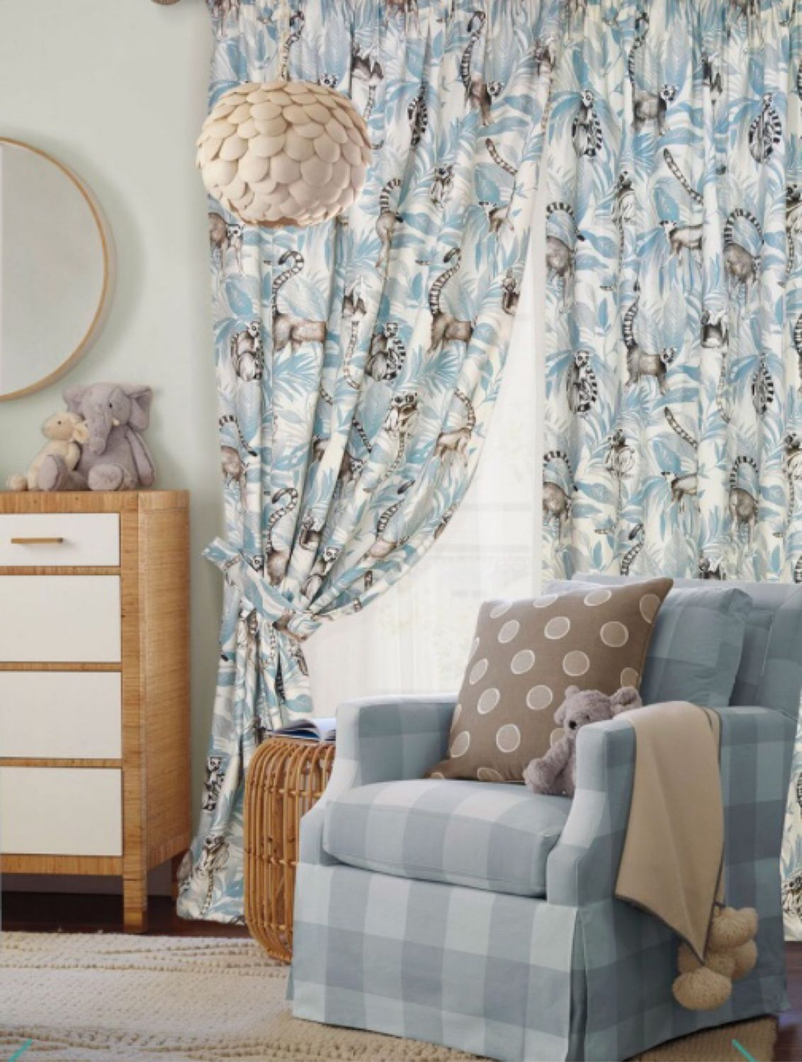 Set of curtains with tulle 'Lemurs in the jungle' made of natural fabrics, Curtains, Mozhaisk,  Фото №1