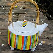 """Посуда ручной работы. Ярмарка Мастеров - ручная работа """"Чайник в полоску"""". Handmade."""