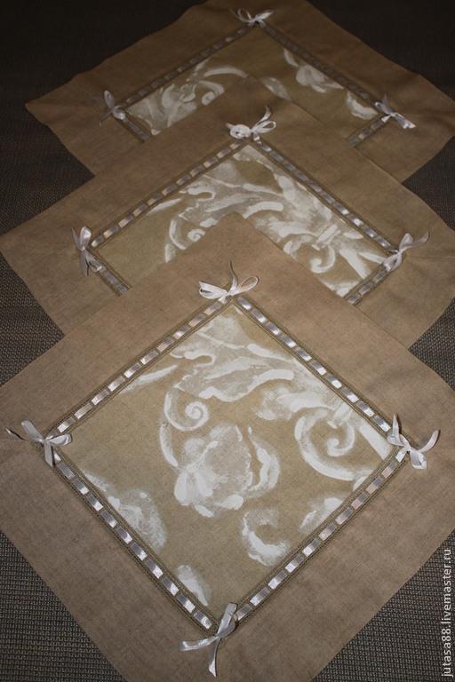 Текстиль, ковры ручной работы. Ярмарка Мастеров - ручная работа. Купить Набор из 3-х льняных салфеток. Handmade. Бежевый