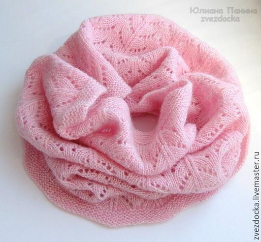 """Шали, палантины ручной работы. Ярмарка Мастеров - ручная работа. Купить шарф - снуд """"Aquarell"""". Handmade. Бледно-розовый, капюшон"""