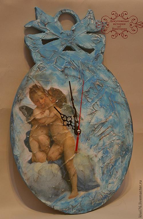 """Часы для дома ручной работы. Ярмарка Мастеров - ручная работа. Купить Часы """"Поцелуй ангелов"""". Handmade. Голубой, часы настенные"""