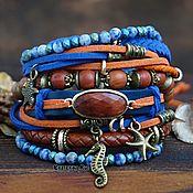 Украшения handmade. Livemaster - original item Boho-chic suede bracelet with stones