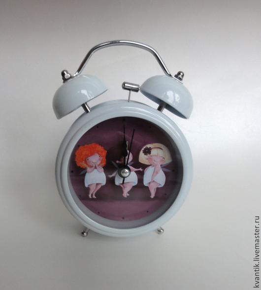 Часы для дома ручной работы. Ярмарка Мастеров - ручная работа. Купить Будильник с феечками от Elina Ellis. Handmade. Белый