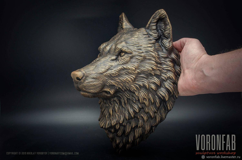 Гордый Волк. Скульптура, голова животного, бронза, имитация 30см, Скульптуры, Вологда,  Фото №1