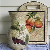 Вазы ручной работы. Стеклянная ваза  Фрукты и ягоды