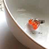 Украшения ручной работы. Ярмарка Мастеров - ручная работа Кольца с блестками, оранжевое. Handmade.
