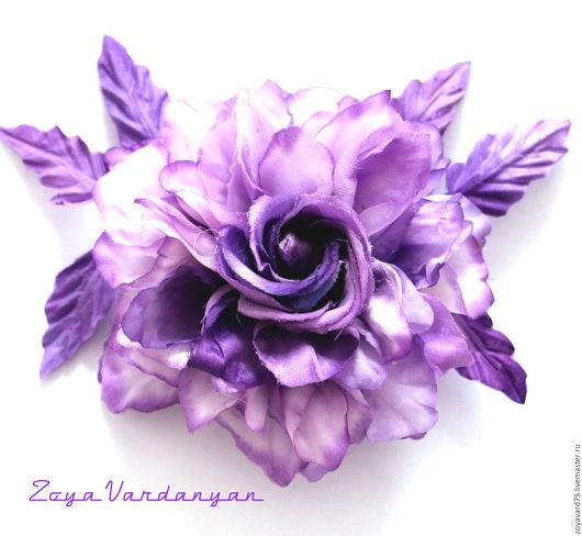 Цветы ручной работы. Ярмарка Мастеров - ручная работа. Купить фиолетовое чудо-роза из шелка. Handmade. Фиолетовый, японская техника
