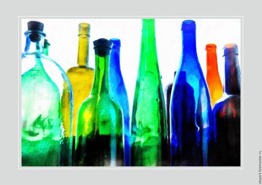 Картины цветов ручной работы. Ярмарка Мастеров - ручная работа. Купить -стекло-акварель-. Handmade. Комбинированный, интерьер
