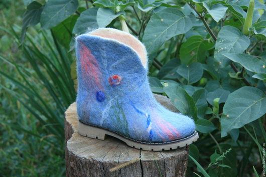 Обувь ручной работы. Ярмарка Мастеров - ручная работа. Купить Аква. Handmade. Синий, тапочки, зима, мода зима, кожа