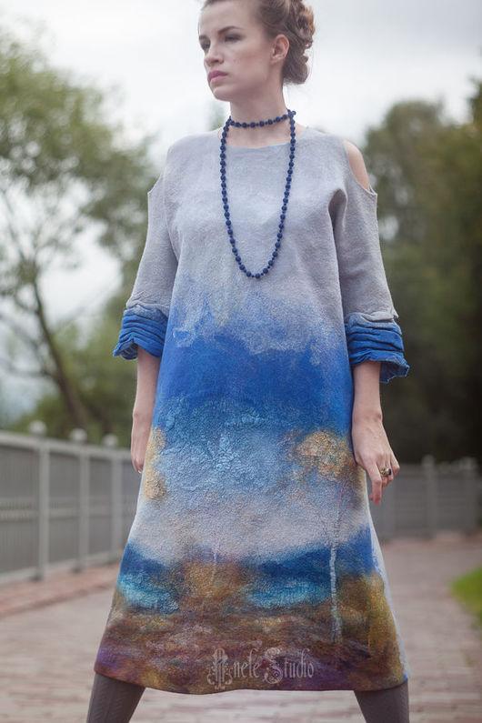 """Платья ручной работы. Ярмарка Мастеров - ручная работа. Купить Платье """"Небесная глазурь"""" 16005. Handmade. Небо, мода, Ультрамарин"""