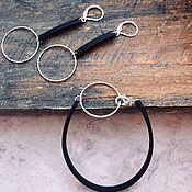 Украшения handmade. Livemaster - original item Earrings and bracelet made of genuine leather with circles. Handmade.