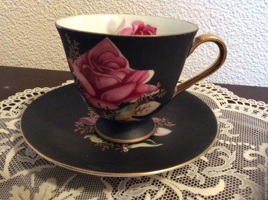 Винтажная посуда. Ярмарка Мастеров - ручная работа. Купить Розы Чайная Парa, Черная Чашкa Блюдцe, Фарфор Norcrest Япония. Handmade.