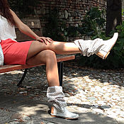 Обувь ручной работы handmade. Livemaster - original item ROMBO white / Summer boots with large geometric perforations. Handmade.