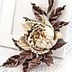 """Броши ручной работы. Ярмарка Мастеров - ручная работа. Купить Брошь с розой """"Beige"""". Натуральная кожа.. Handmade. Бежевый"""