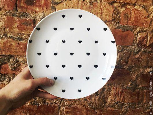 Тарелки ручной работы. Ярмарка Мастеров - ручная работа. Купить Тарелка Маленькое сердце Sans Brides. Handmade. Белый, сердца