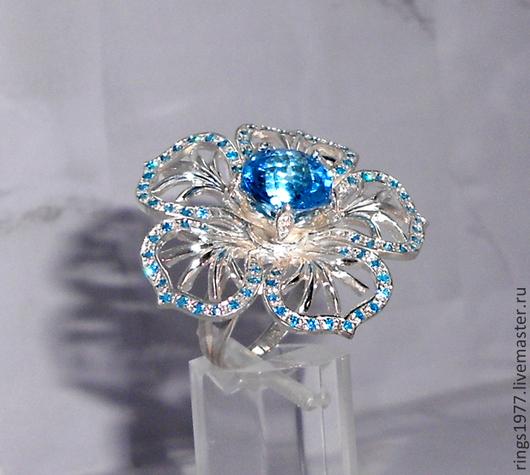 """Кольца ручной работы. Ярмарка Мастеров - ручная работа. Купить Кольцо """"Снежинка"""". Handmade. Голубой, голубой топаз"""