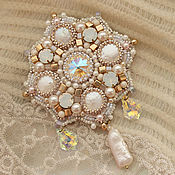 Украшения handmade. Livemaster - original item Brooch ` Splashes of champagne` - pearls and Swarovski elements. Handmade.