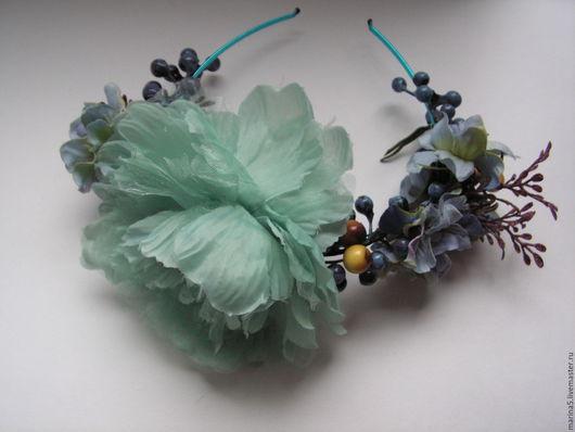 Свадебные украшения ручной работы. Ярмарка Мастеров - ручная работа. Купить Ободок с цветами. Handmade. Мятный, украшение для прически