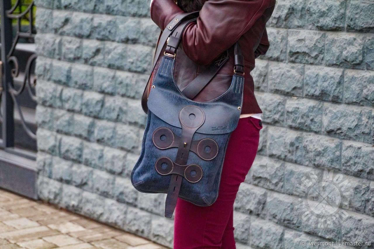 Женские сумки ручной работы. Ярмарка Мастеров - ручная работа. Купить Сумка кожаная универсальная ручной работы МОНТИ этно-стиль. Синяя кожа. Handmade.