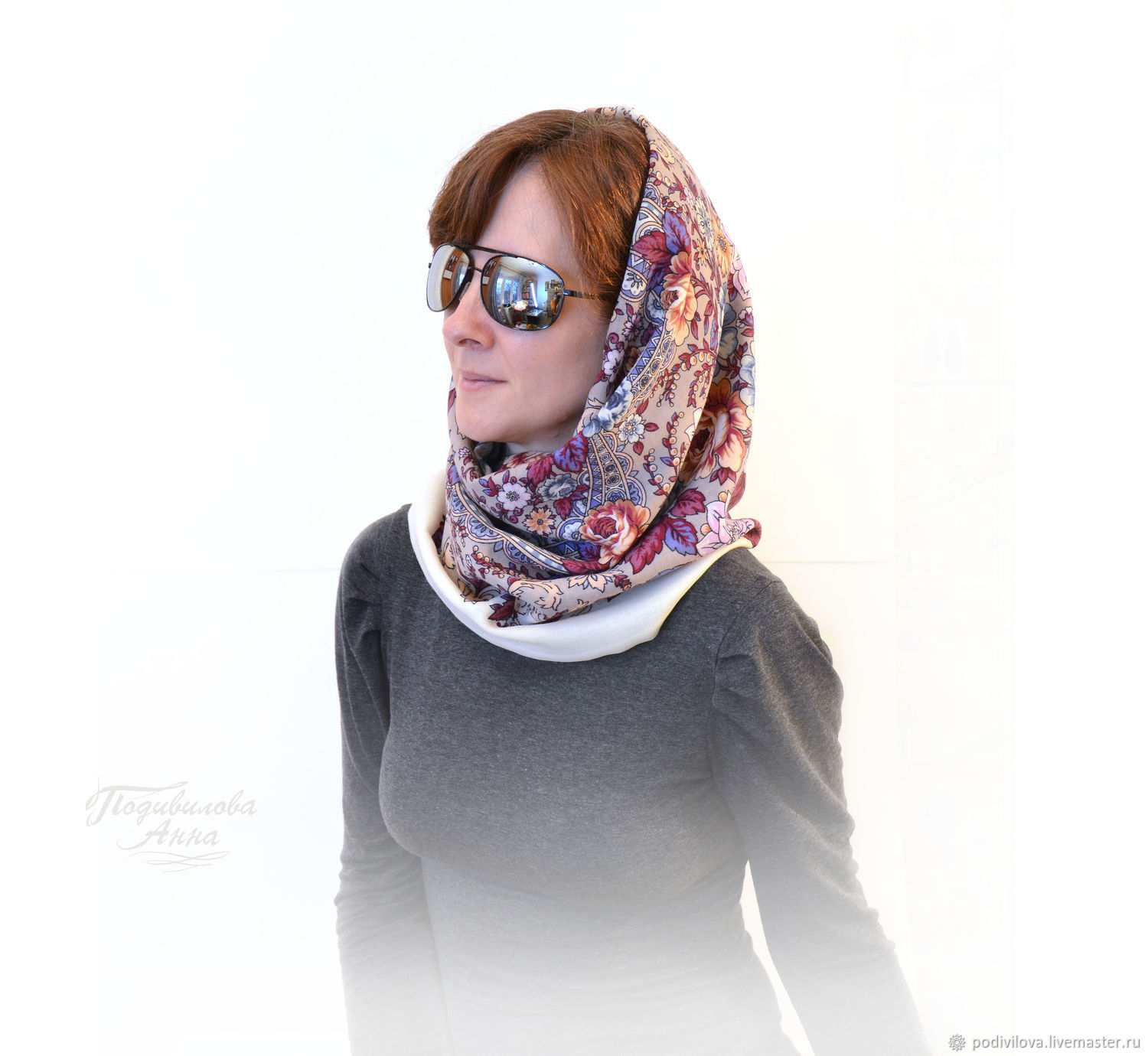 From pavlovoposadskaja Snood scarf, Snood tube scarf cowl, winter cowl made of wool ,fashionable Snood.Snood online shop.Anna Podivilova .Snood for women,girls,winter fashion 2018,women`s headdress.