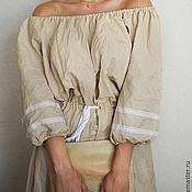 Одежда ручной работы. Ярмарка Мастеров - ручная работа Платье длинное лен, стильное льняное платье «Беж». Handmade.