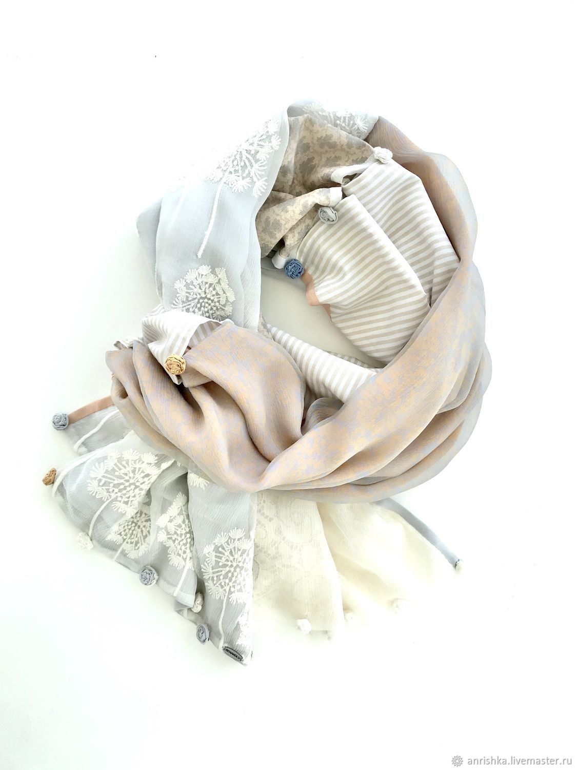 Stole made of silk and cotton. Dandelions. Roses and stripes, Wraps, St. Petersburg,  Фото №1