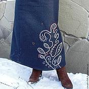 Одежда ручной работы. Ярмарка Мастеров - ручная работа Теплая  джинсовая, длинная юбка. Handmade.