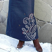 Одежда handmade. Livemaster - original item Warm denim long skirt. Handmade.
