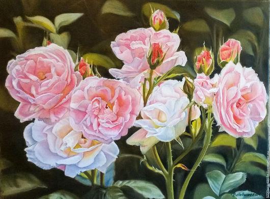 """Картины цветов ручной работы. Ярмарка Мастеров - ручная работа. Купить """"Розовые розы"""". Холст. Масло. 40х50.. Handmade. Розы"""