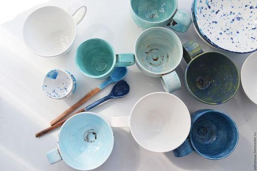 Кружки и чашки ручной работы. Ярмарка Мастеров - ручная работа. Купить Стиль моря. Handmade. Синий, керамическая посуда, глина