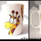 """Посуда ручной работы. Ярмарка Мастеров - ручная работа Кружка с жирафом """"Длинношеее"""". Handmade."""