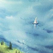 Картины ручной работы. Ярмарка Мастеров - ручная работа Море акварелью (морской пейзаж бирюзовый белый салатовый). Handmade.
