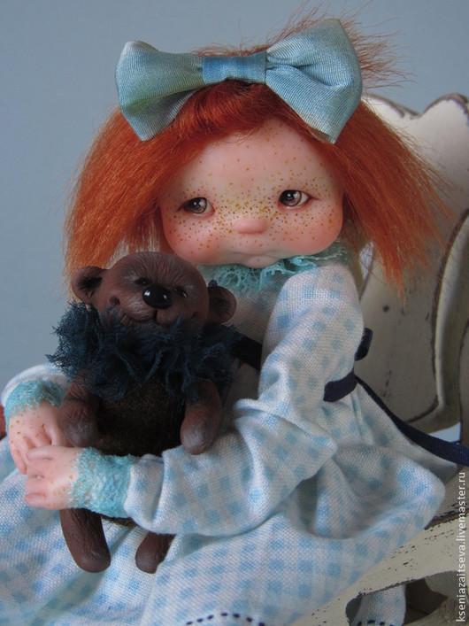 """Коллекционные куклы ручной работы. Ярмарка Мастеров - ручная работа. Купить """"Лотти"""". Handmade. Мятный, куколка, мишка, кожа натуральная"""