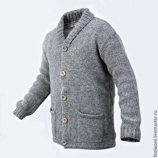 Кофты и свитера ручной работы. Ярмарка Мастеров - ручная работа. Купить Мужской кардиган из 100% новозеландской шерсти. Handmade. Серый