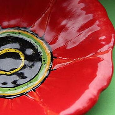 Посуда ручной работы. Ярмарка Мастеров - ручная работа Тарелка Красный Цветок. Handmade.