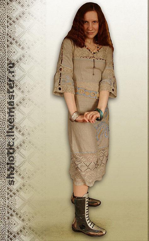 Льняное платье, платье с кружевом, летнее платье, платьев славянском стиле, платье в этническом стиле, бохо платье, автор Юлия Льняная сказка