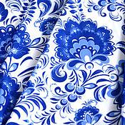 Материалы для творчества ручной работы. Ярмарка Мастеров - ручная работа Ткань Гжель №1. Handmade.