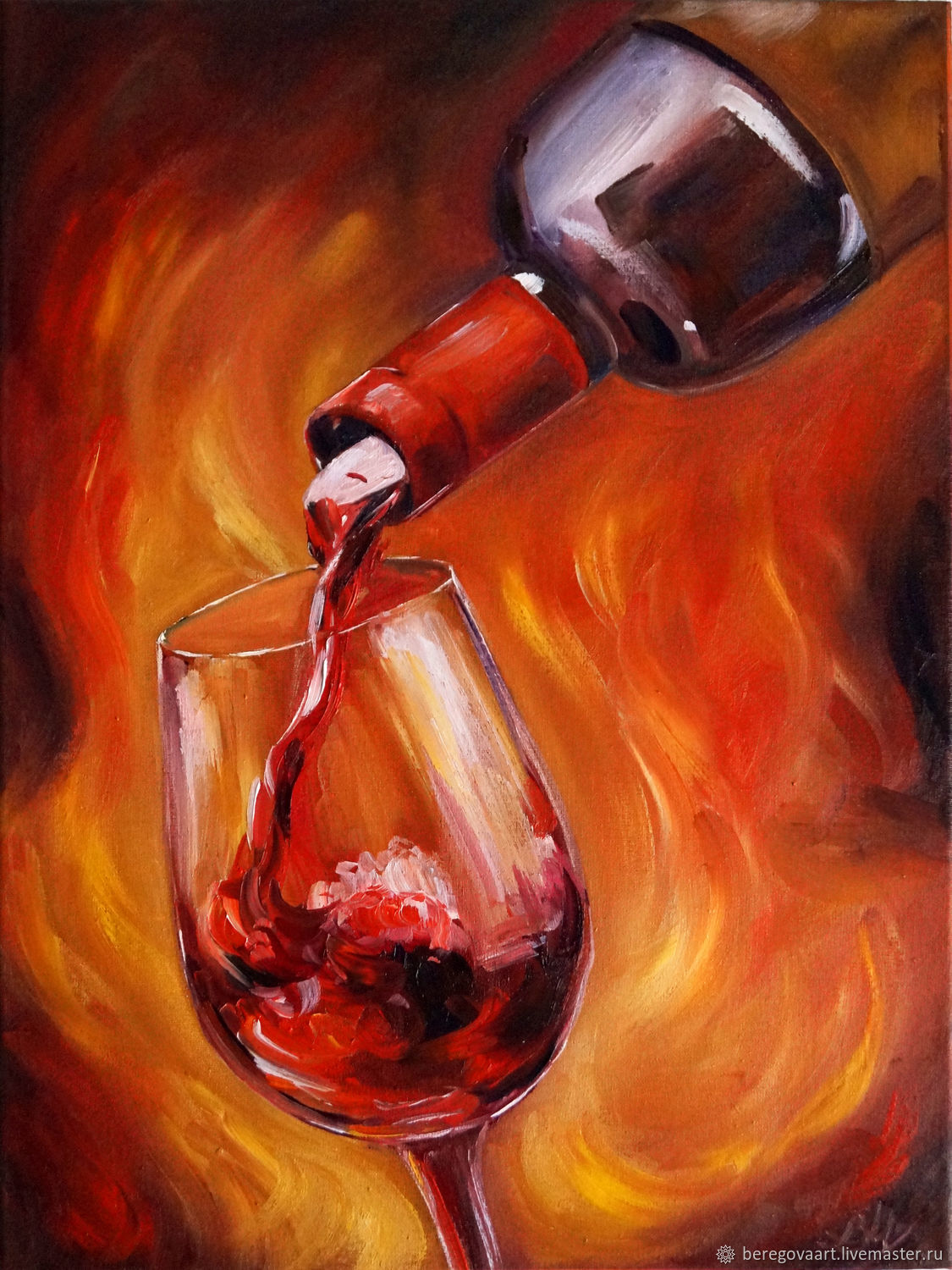 Painting glass of wine, bottle, still life with wine, Pictures, St. Petersburg,  Фото №1