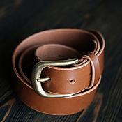 handmade. Livemaster - original item Wide leather men`s belt for jeans, brown. Handmade.