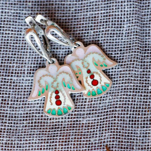 """Серьги ручной работы. Ярмарка Мастеров - ручная работа. Купить Серьги """"Ангелочки"""" из серебра с эмалью. Минанкари. Handmade. Перегородчатая эмаль"""
