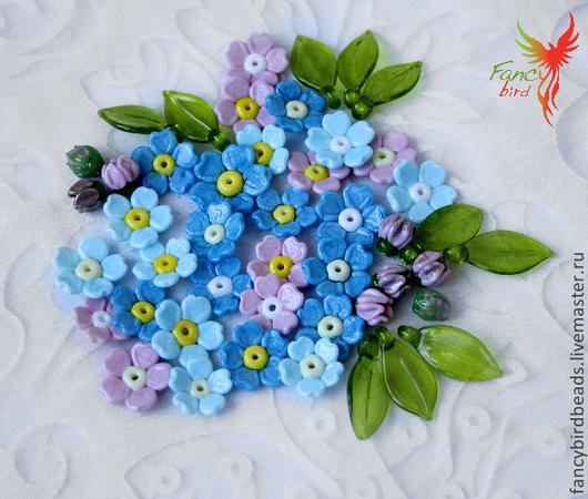 """Для украшений ручной работы. Ярмарка Мастеров - ручная работа. Купить Бусины лэмпворк """"Незабудки"""". Handmade. Разноцветный, цветы"""