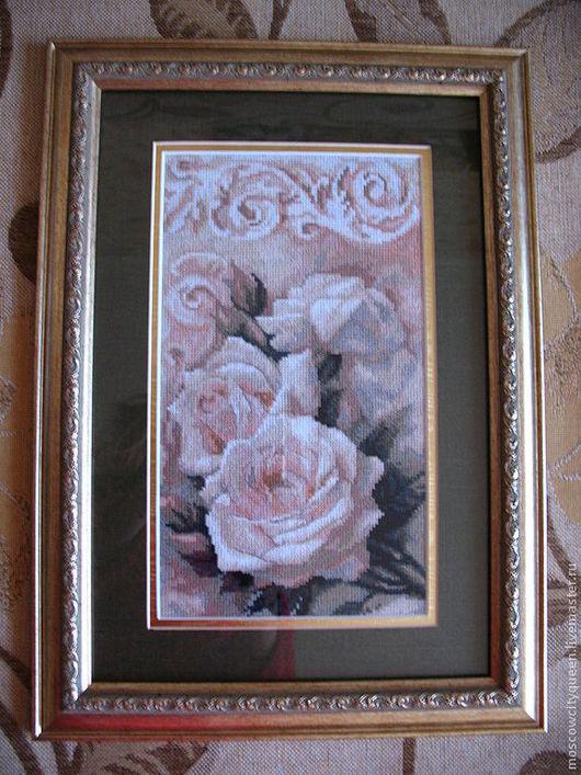 Картины цветов ручной работы. Ярмарка Мастеров - ручная работа. Купить картина вышивка крестом Чайная роза. Handmade. Бежевый
