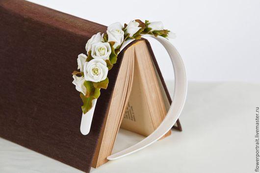 Диадемы, обручи ручной работы. Ярмарка Мастеров - ручная работа. Купить Ободок кустовая роза. Handmade. Белый, ободок с цветами