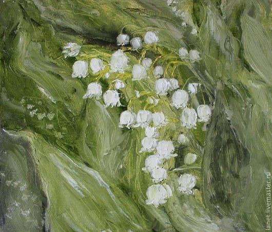 """Картины цветов ручной работы. Ярмарка Мастеров - ручная работа. Купить Постер """"Ландыши"""". Handmade. Лес, ландыши, белый, весенний"""