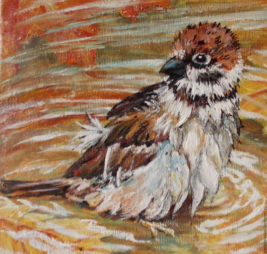"""Животные ручной работы. Ярмарка Мастеров - ручная работа. Купить """"Воробушек в осенней луже"""". Handmade. Оранжевый, воробей, купить картину"""
